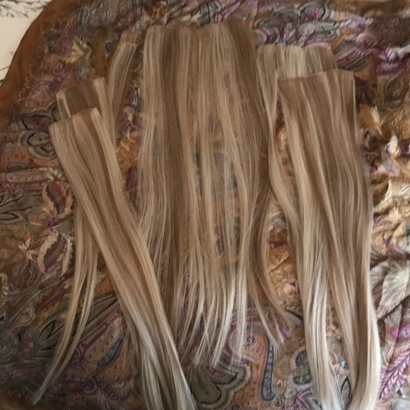 Accessories 100 Remy Human Hair Highlighted Blonde 7 Pc Clip